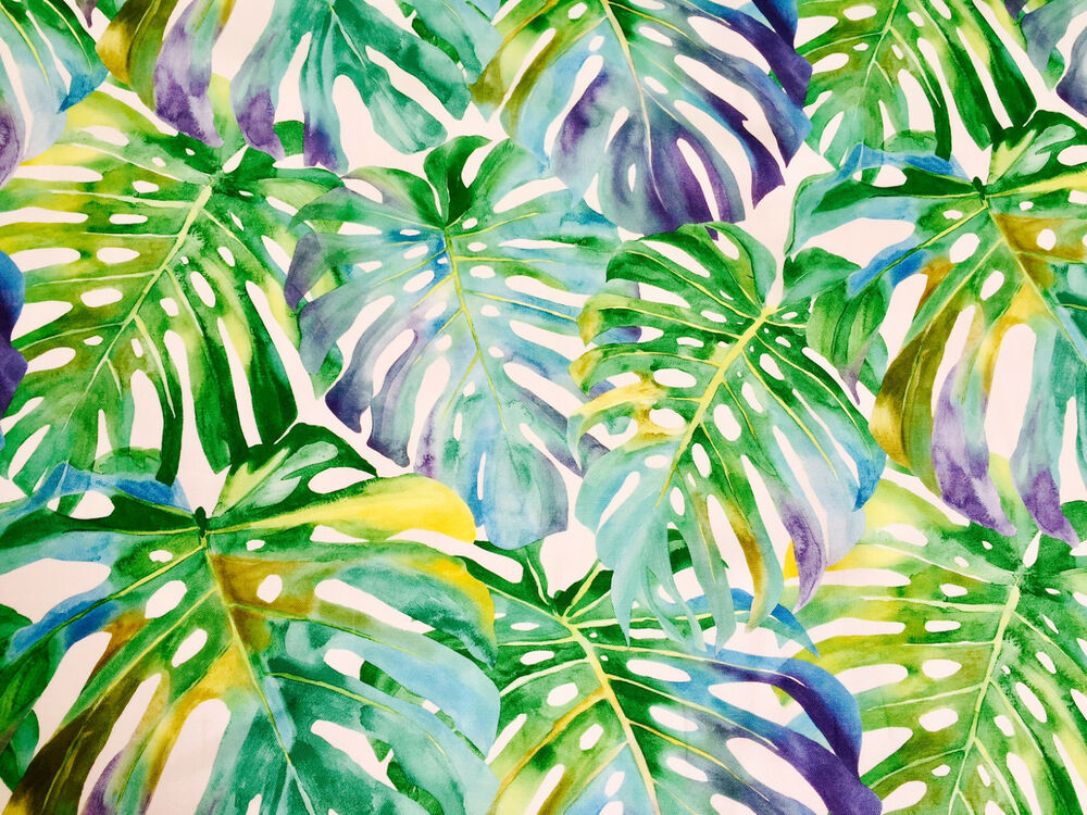 TROPICAL LEAVES 2 Palm Leaf Fabric Curtain Upholstery