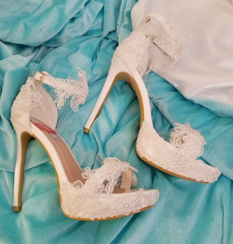 Wedding Dream White Embroidered Beaded Lace Bridal Ankle Strap Stiletto Heels | eBay