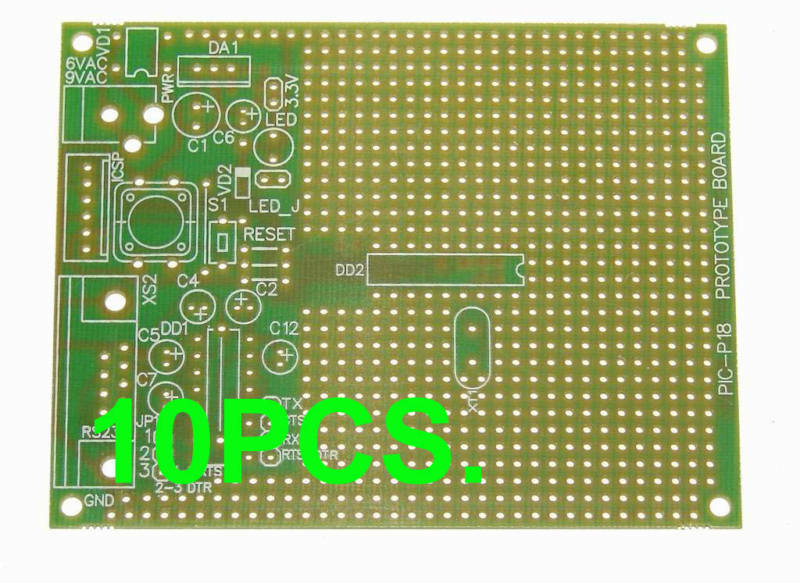 10 Pcs. Of PIC Microchip PIC-P18 Prototype Board