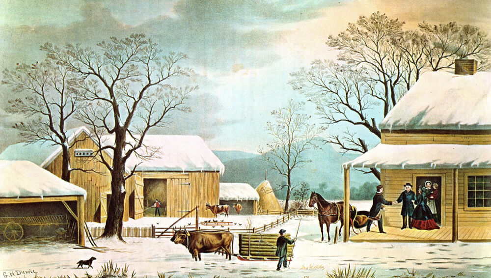 Home For Thanksgiving By Currier Amp Ives Winter Family