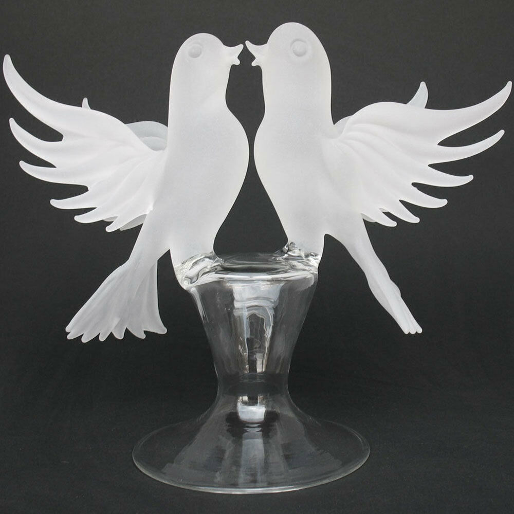 Lovebirds Doves Glass Wedding Cake Top Topper Crystal EBay