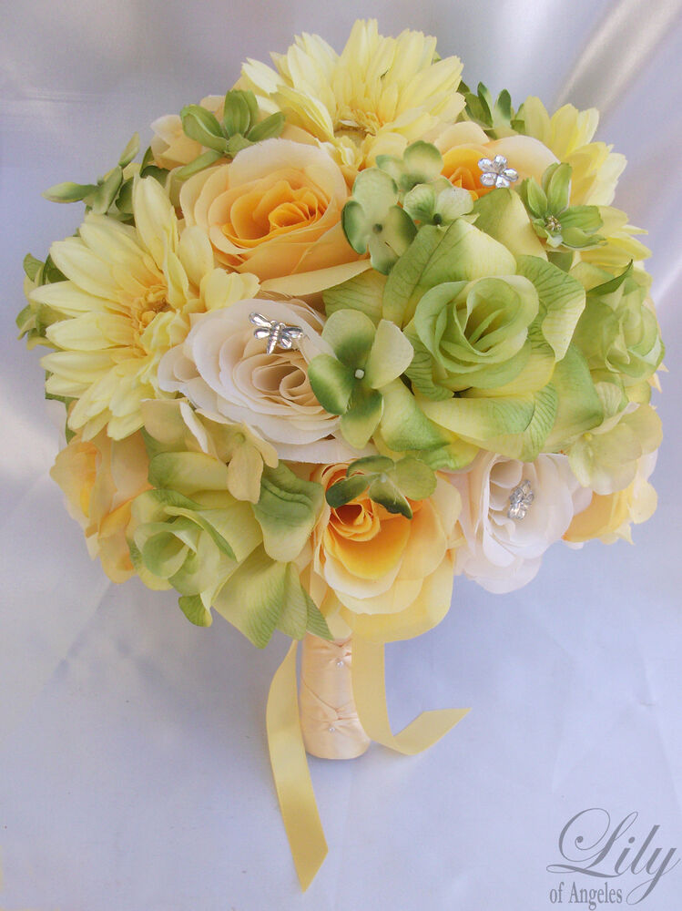 17pcs Wedding Bridal Bouquet Set Decoration Package Silk Flowers YELLOW GREEN EBay
