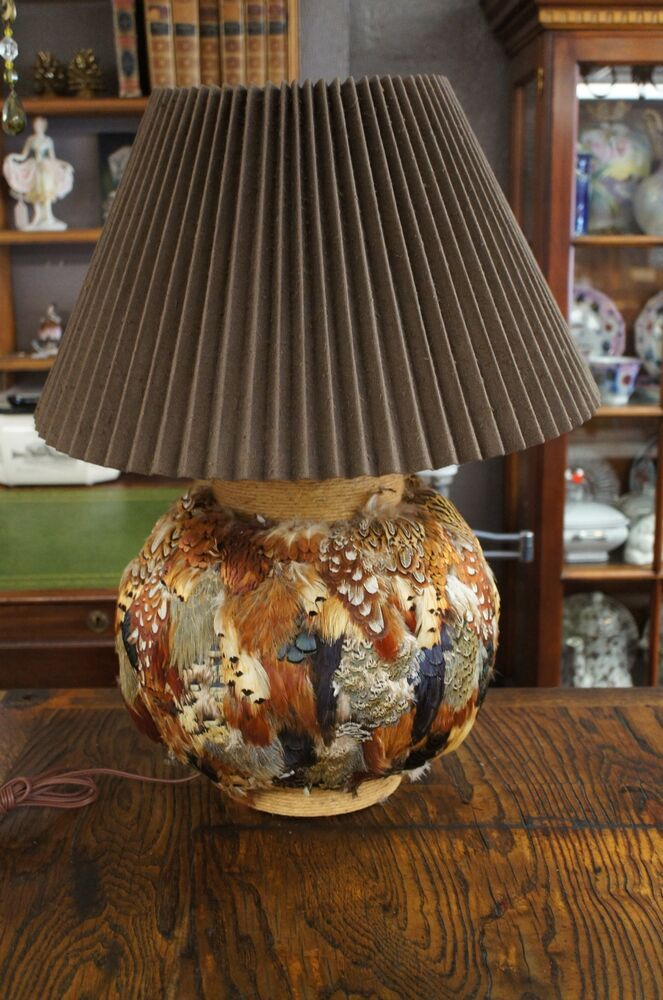 Vintage Bird Peacock Feather Table Lamp Pheasant Outdoors
