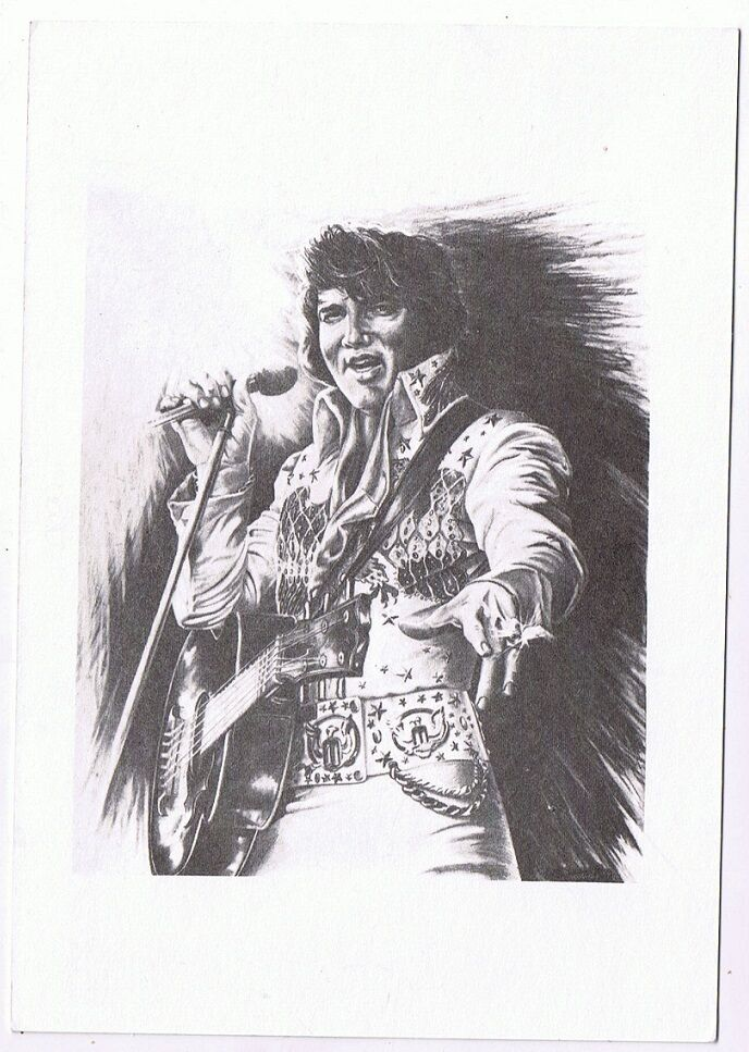Elvis Presley Postcard From Original Pencil Sketch By