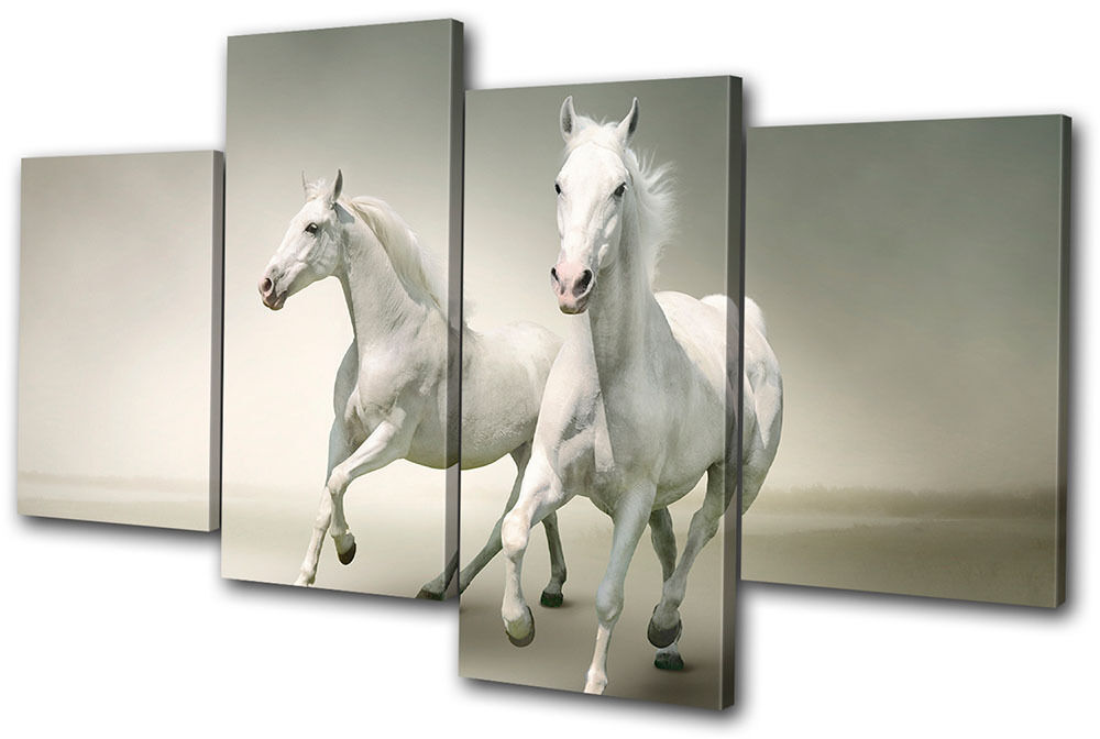 Animals White Horses MULTI CANVAS WALL ART Picture Print
