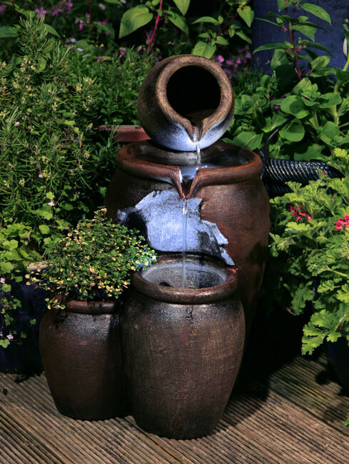 Jug Pot Water Feature Fountain Vintage Style Cascade 2 Tiered LED Lights Garden EBay