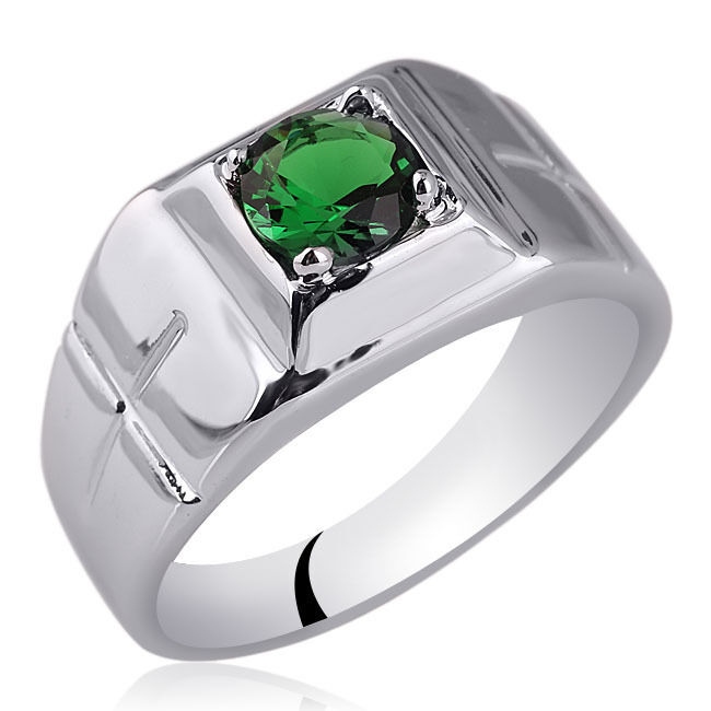 Small Size 925 Sterling Silver Men Ring With Emerald