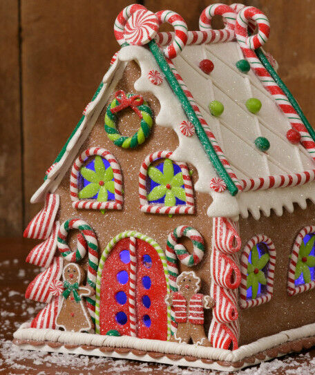Gingerbread Candy Christmas House W Gingerbread Men Clay