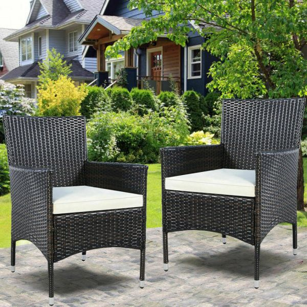 wicker patio furniture cushions GOPLUS 2PC Chairs Outdoor Patio Rattan Wicker Dining Arm