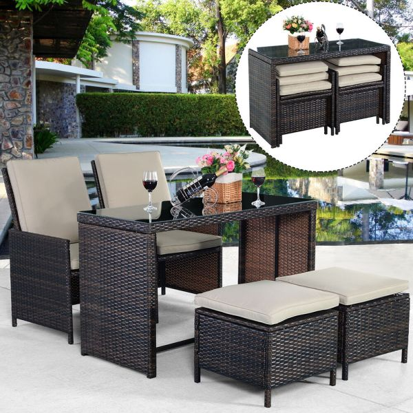 outdoor patio furniture sets New 5PCS Brown Cushioned Ottoman Rattan Patio Set Outdoor