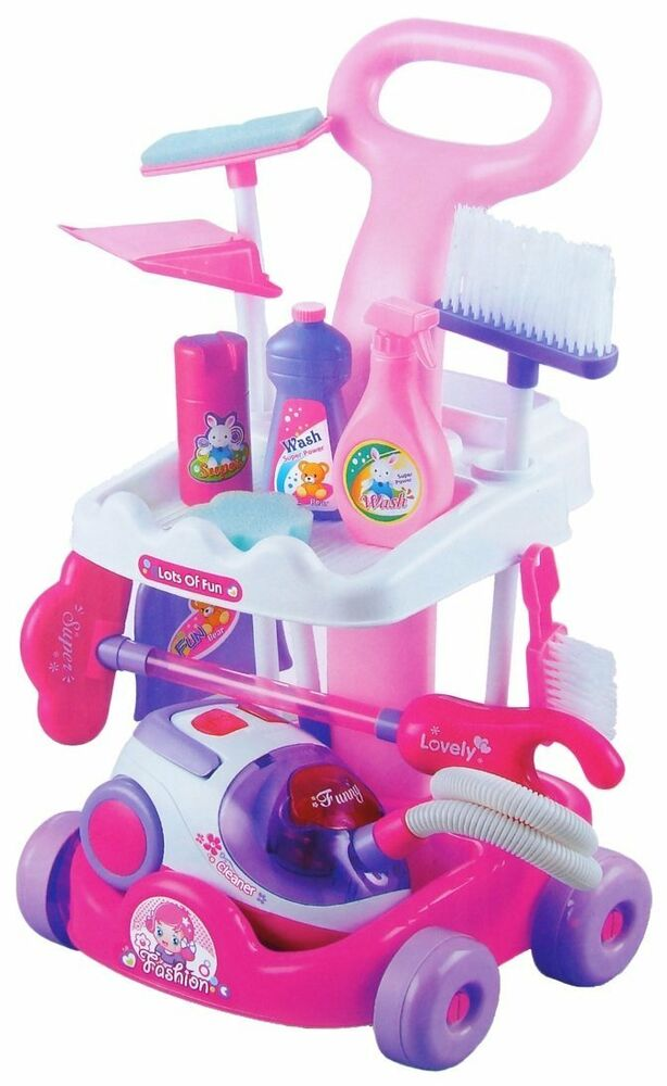 Girls Pink Household Cleaning Trolley Toy Set With Vacuum