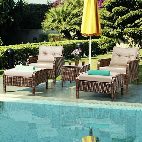 outdoor wicker rattan patio furniture 5 PCS Rattan Wicker Furniture Set Sofa Ottoman W/ Cushions