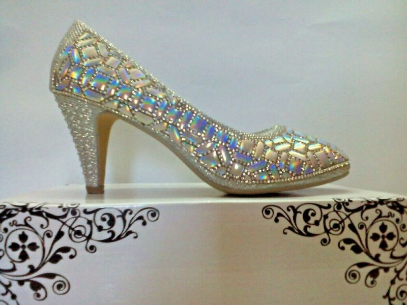 Women's Bridal Shoes Silver Color High Heels Embroidered Glitter Crystal Beads | eBay