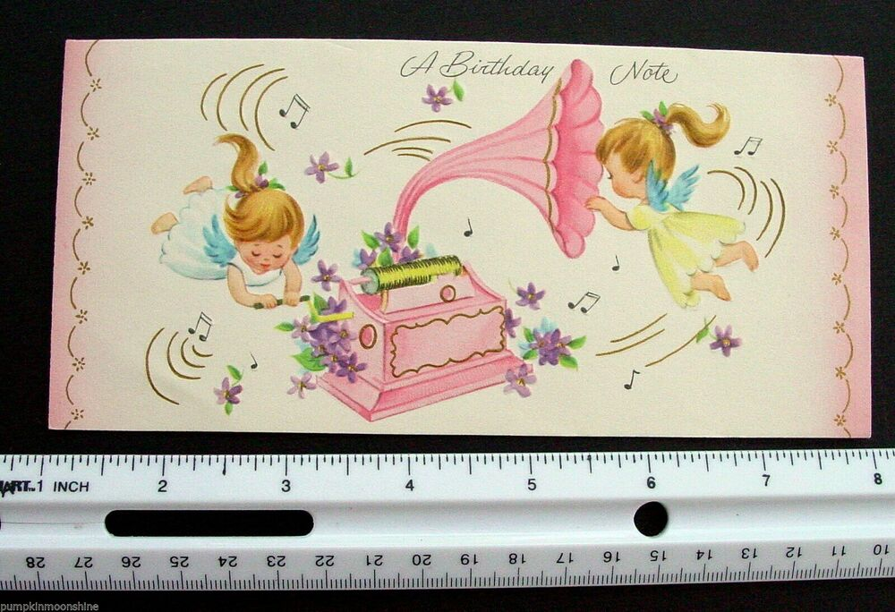 D413 Vintage Birthday Greeting Card Sweet Angels Old