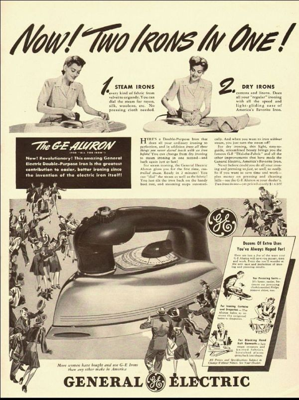 1946 vintage ad for GE Aluron, 'Two Irons in One!' -071712 ...