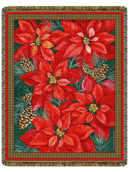 68x48 POINSETTIA Christmas Holiday Floral Tapestry Afghan
