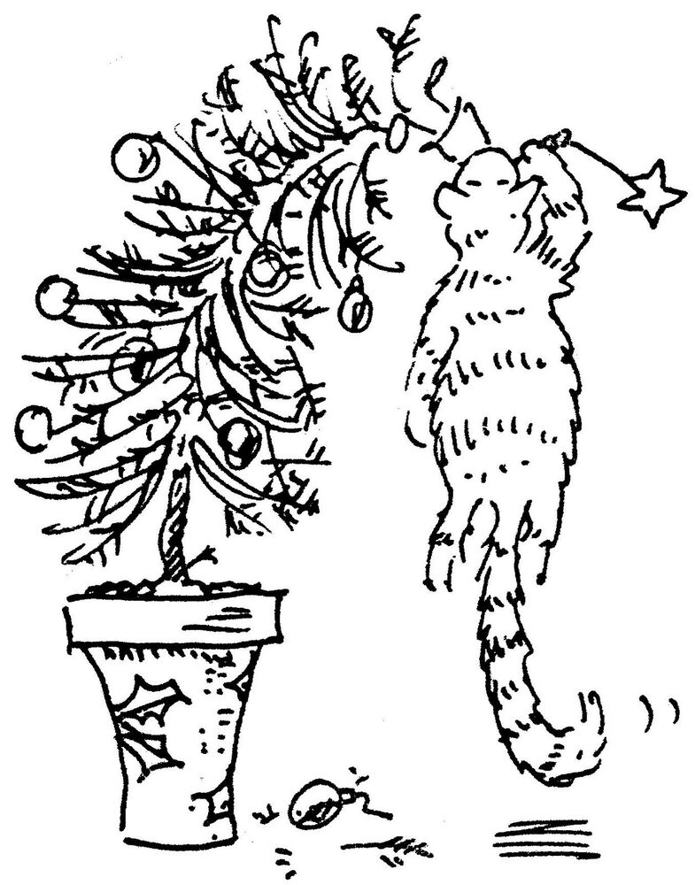 Cat Hanging On A Christmas Tree Rubber Stamp R4873 EBay