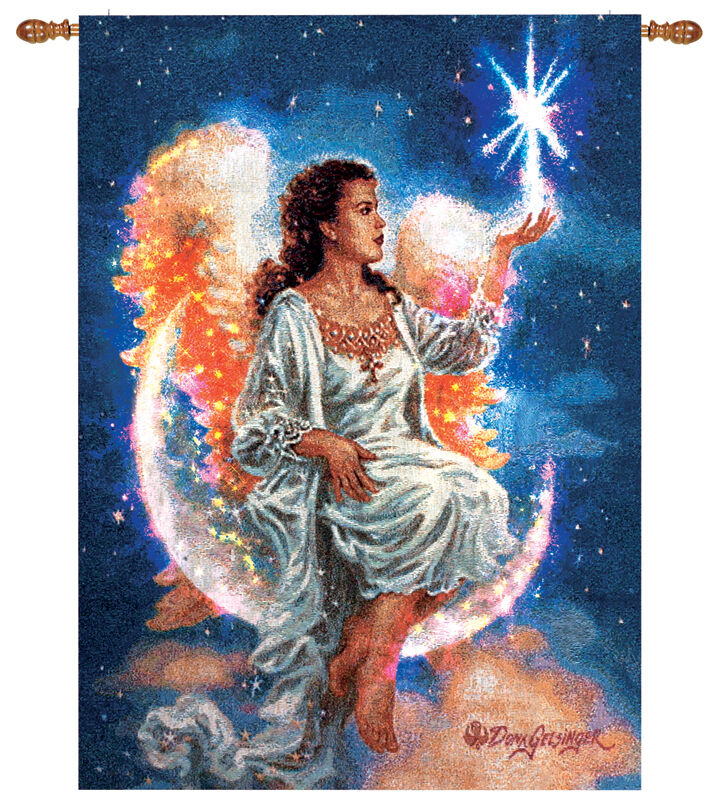 The Christmas Star Angel Fiber Optic Tapestry Wall