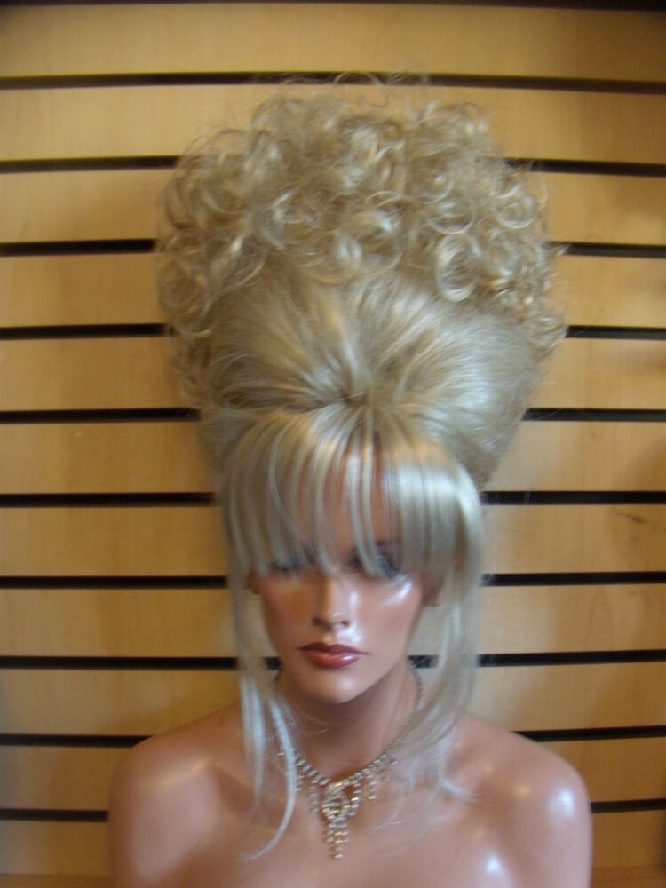 WOW VEGAS GIRL WIGS UP DO FRENCH TWIST CURLY TOPPER EBay