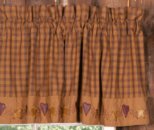 New Primitive Country Folk Art STAR HEART BURGUNDY TAN VALANCE Window Curtain EBay