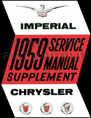 1959 Chrysler Shop Manual Supplement Imperial New Yorker