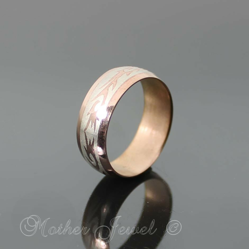 WIDE ROSE GOLD STAINLESS STEEL ANNIVERSARY WEDDING BAND