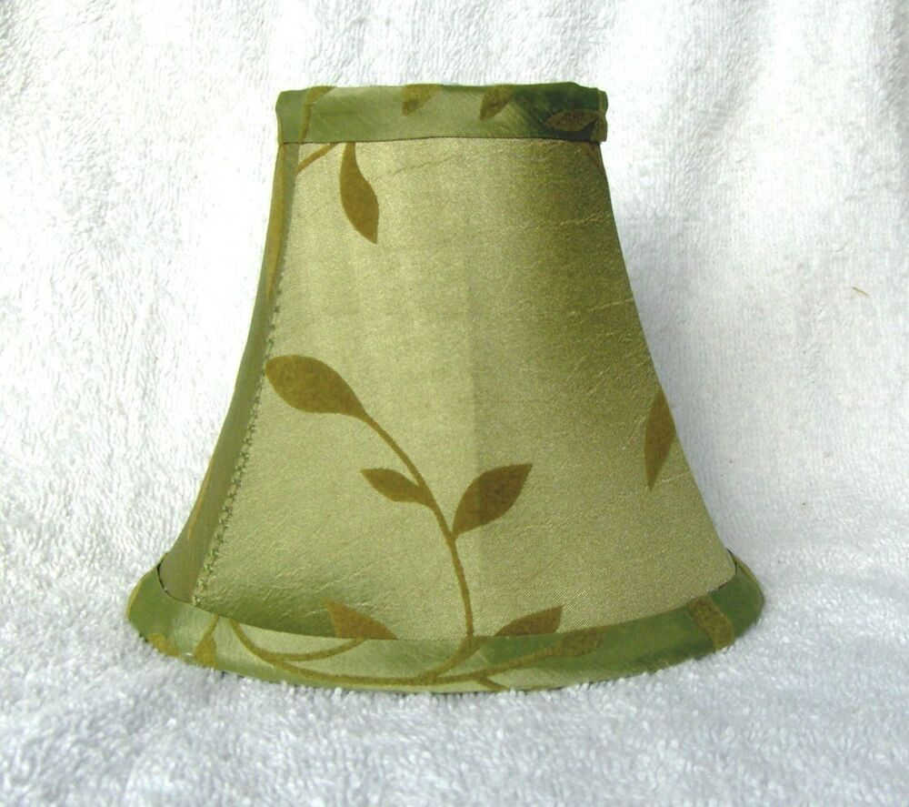 Sage W Felt Leaves Fabric Chandelier Lamp Shade Green
