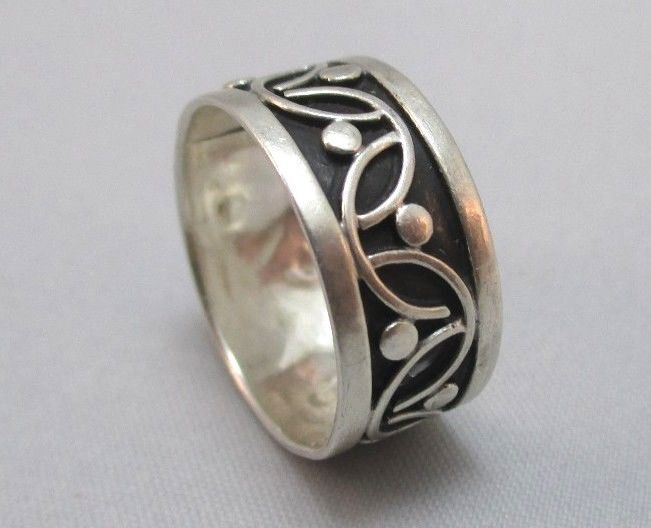 STERLING SILVER PATTERNED MEXICO BAND RING WITH HALLMARK EBay