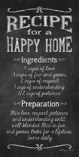 Art Print Framed Or Plaque Recipe For A Happy Home By