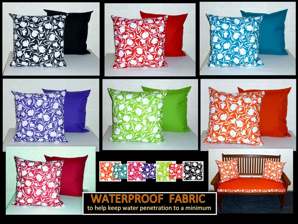 2x REVERSIBLE WATERPROOF FABRIC SCATTER CUSHION COVERS