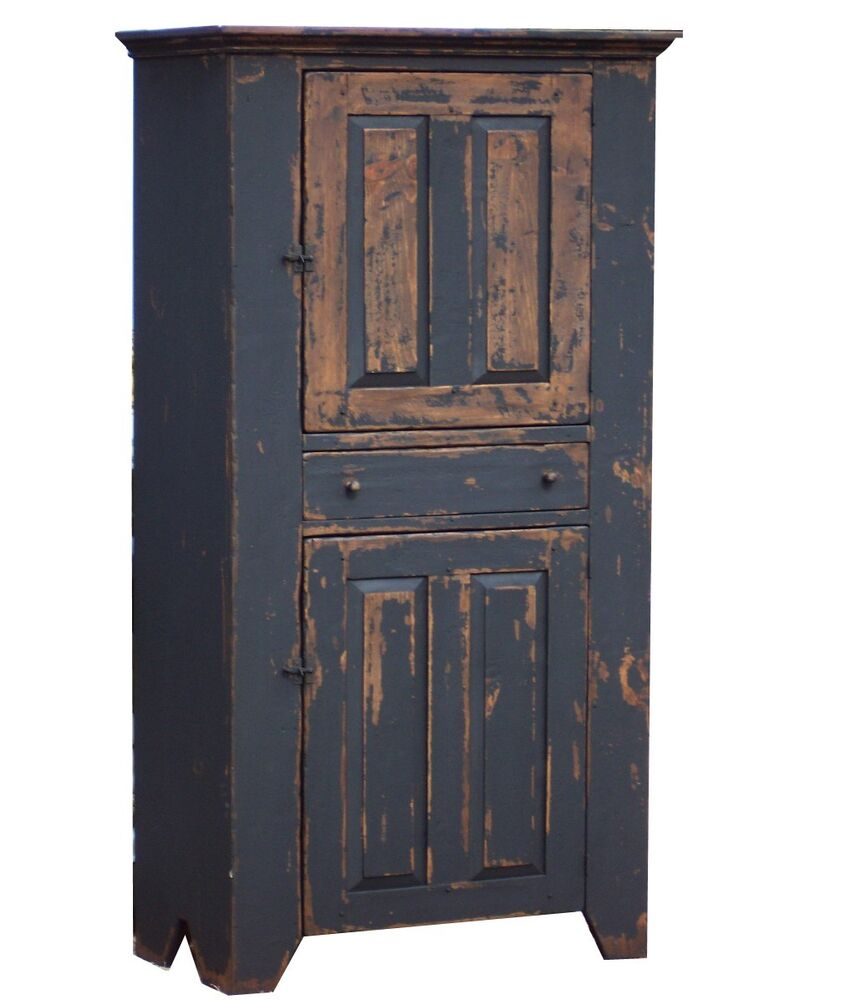 painted country cupboard early american primitive on country farmhouse furniture id=31714