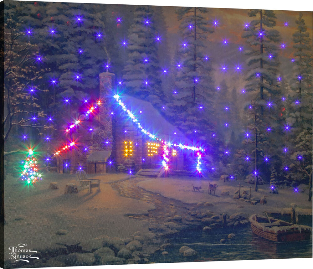 Christmas Retreat Fiber Optic Canvas Wall Hanging WRemote