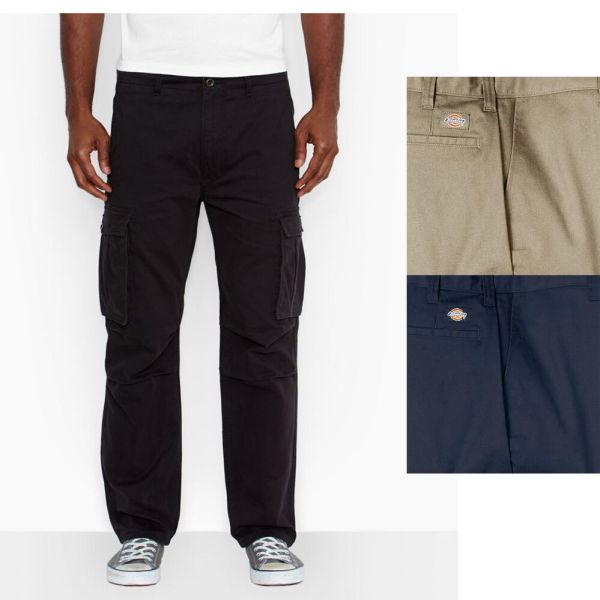Dickies Men's Work Cargo Straight Fit Relaxed Fit Pants   eBay