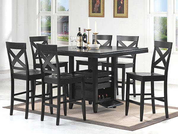 counter height storage dining table NEW 7PC DOLAN BLACK FINISH WOOD COUNTER HEIGHT DINING