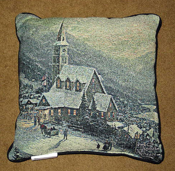 Moonlit Village Winter Holiday Scene Tapestry Pillow