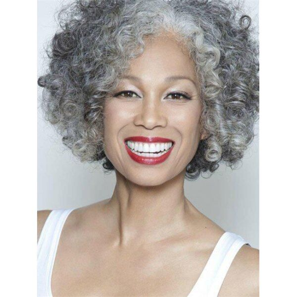 Gracefully Short Afro Curly Grey Silver Womens Synthetic