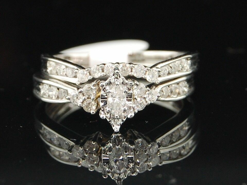 14K White Gold Real Marquise Diamond Engagement Ring