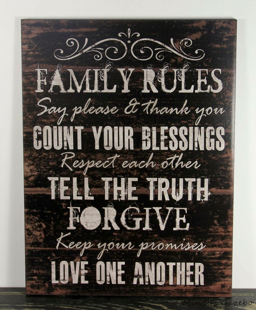 PRIMITIVE COUNTRY BLACK WOOD FAMILY RULES SIGN HANDMADE ... on Home Wall Decor Signs id=31668