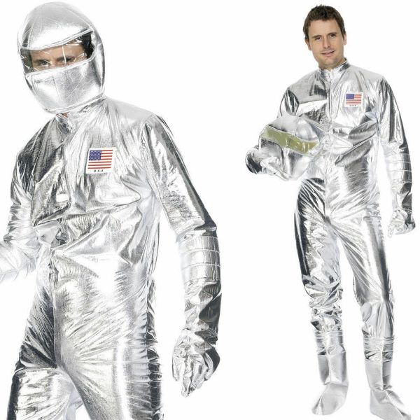 Metallic Silver Spaceman Costume Jumpsuit Astronaut NASA ...