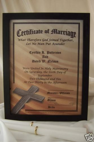 PERSONALIZED Christian Marriage Certificate Wedding EBay