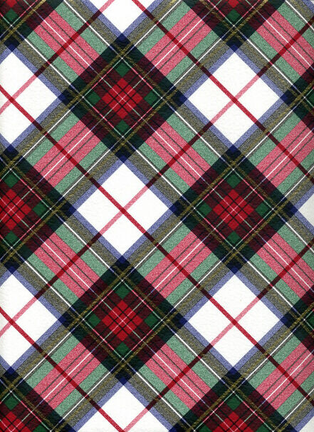WHITE TARTAN CHRISTMAS PLAID EMBOSSED GIFT WRAPPING PAPER