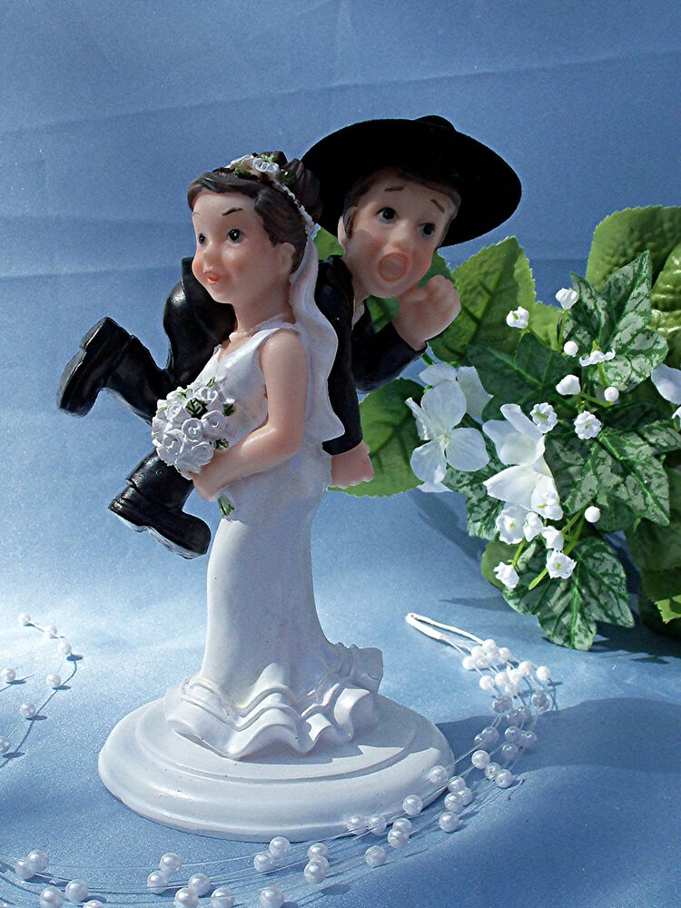 Western Wedding Humorous Funny CAKE TOPPER Bride Carry