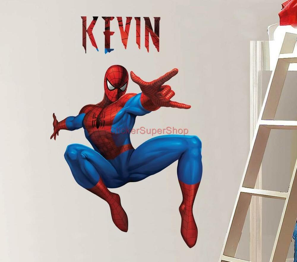 PERSONALIZED SPIDERMAN Decal Removable WALL STICKER Home .