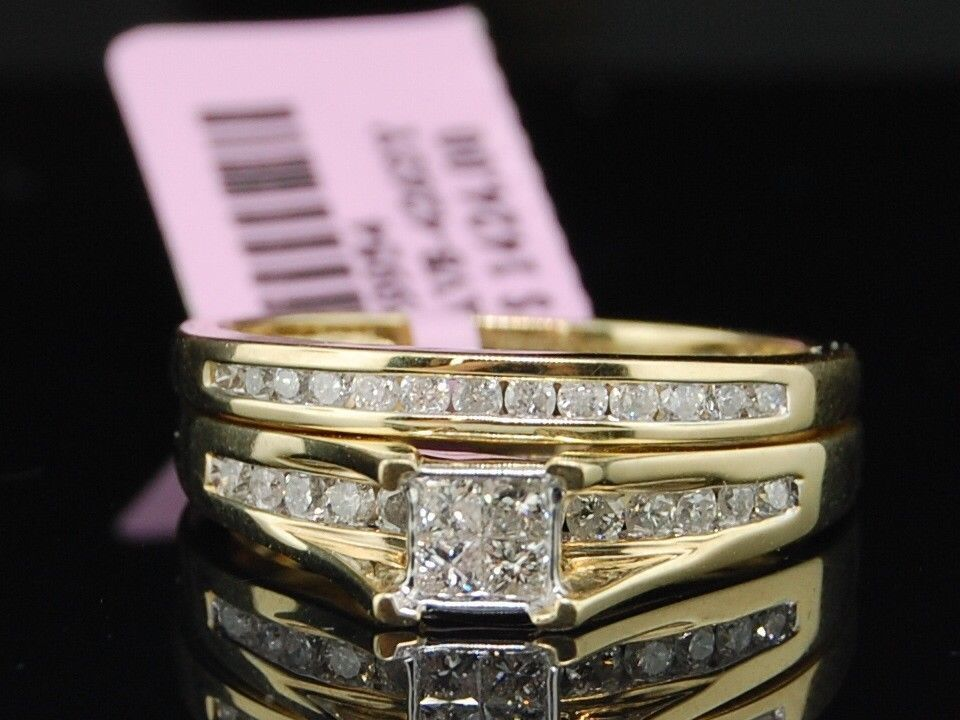 Princess Cut Diamond Bridal Set 10K Yellow Gold Engagement