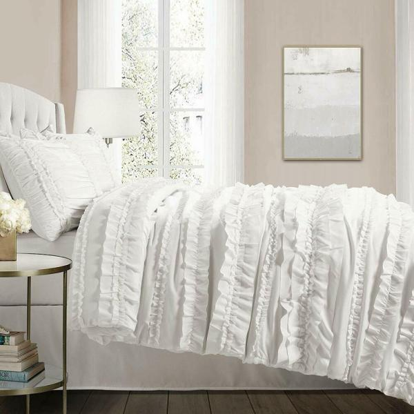CHIC RUFFLES WHITE ** Queen ** COMFORTER SET : COUNTRY ...