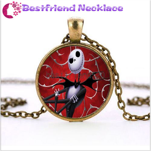 Nightmare Before Christmas Skull Red Jack Bronze Necklace