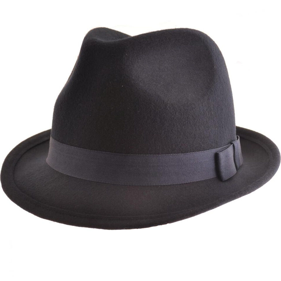 Mens Black Racing Trilby Fedora Hat Adult Ladies 100 Wool