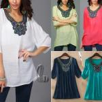 WHOLESALE BULK  LOT 10 MIXED COLOUR SIZE EMBROIDERY KAFTAN TOP/BEACH COLVER T030