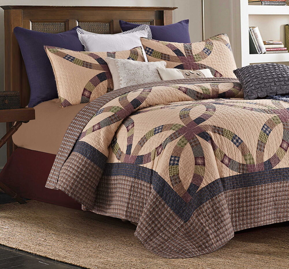 PRIMITIVE WEDDING RING King QUILT SET COUNTRY CABIN