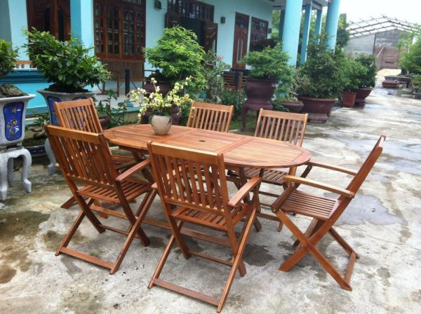wood patio furniture table and chairs Garden Oval Table & 6 Chairs Wooden Patio Outdoor Dining